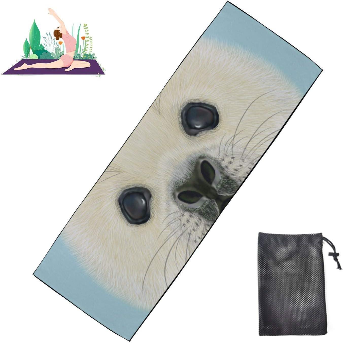 Jnseff Yoga Nonslip Mat Illustrated Seal Pup Harp Cute Portrait shop Houston Mall