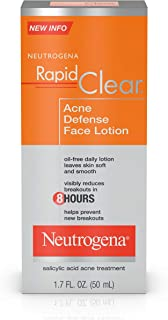 Neutrogena Rapid Clear Acne Defense Face Lotion with Salicylic Acid, 1.7 fl. oz (Pack of 3)