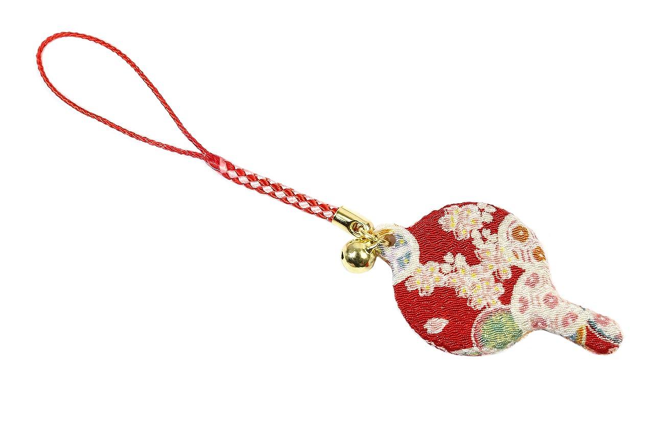 ZOON(ズーン) 花ちりめん ミニハンドミラー 赤 和柄 着物 ちりめん 生地 布製 根付け ミニ鏡 日本製 お土産 赤