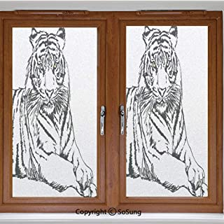 24x24 inch Decorative Static Cling Frosted Privacy Window Film,Sketch of A Posing Tiger Sharp Eyes Largest Cat Species Dark Vertical Stripes Art Glass film for Window Glass Panels,UV Protection,Energy