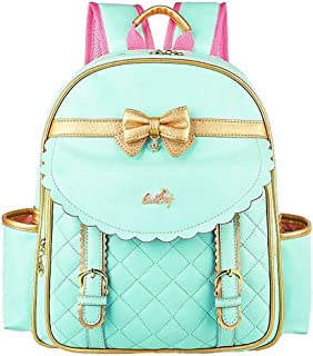 EURO SKY Children School Backpack Bags for Girls Students PU Leather Green Small