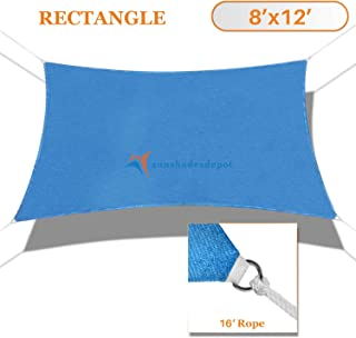TANG Sunshades Depot 8'x12' Sun Shade Sail Rectangle Permeable Canopy Blue Custom Commercial Standard 180 GSM HDPE