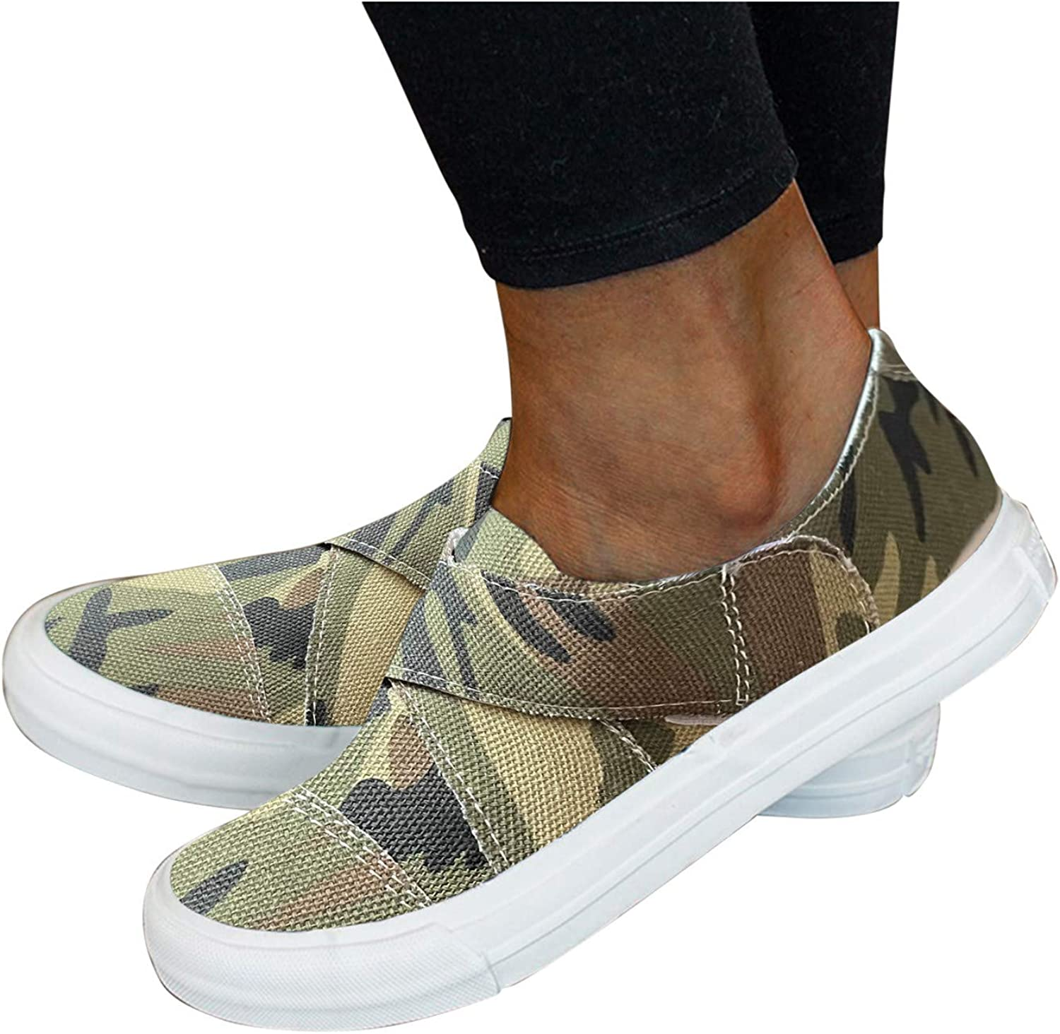 Niceast Women's Walking Shoes,Fashion Printed Canvas Flat Shoes Casual Slip on Loafers Comfy Lightweight Workout Shoes