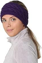 TrailHeads Ponytail Headband | Cable Knit Winter Ear Warmers | Fleece Ear Band for Women