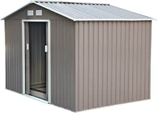 Outsunny 9'x6.3'x6.3' Garden Shed w/Floor Foundation Outdoor Patio Yard Metal Tool Storage House w/Double Doors Grey White