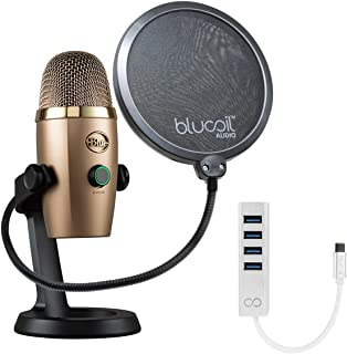 Blue Microphones Yeti Nano USB Mic for Podcasting, VoIP Conference (Cubano Gold) Bundle with Blucoil Pop Filter Windscreen and USB C-Type Mini Hub with 4 USB Ports