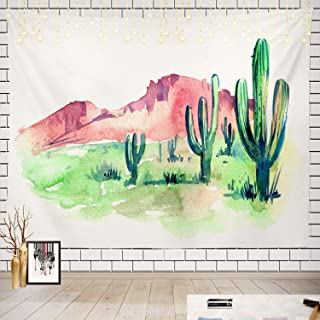 Batmerry Desert Tapestry, Cactus Sketch of The Desert South America with Picnic Mat Beach Towel Wall Art Decoration for Bedroom Living Room Dorm, 51.2 x 59.1 Inches, Black