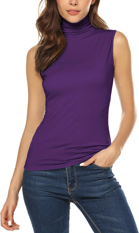 URRU Women's Sleeveless/Short/Long Sleeve Slim Fit Turtleneck Mock Soft T-Shirt Tank Tops Basic Stretchy Pullover S-XXL