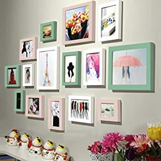 Art Street Wall Photo Frame Sumptuous Vibrant Photo Frame Collage for Home Decoration (White, Green, Pink - Set of 15)