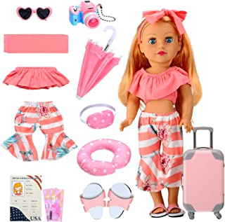 Skylety 11 Pieces Doll Travel Play Set Doll Clothes and Accessories Including Doll Travel Carrier Sunglasses Camera Sunsha...
