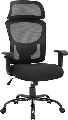 Big and Tall Office Chair 400lbs Wide Seat Executive Desk Chair with Lumbar Support Adjustable Armrest Ergonomic Headrest High Back Mesh Computer Chair Rolling Swivel Task Chair(Black)