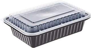 Soft N Cool HOTPACK - 5 PIECES BLACK BASE RECTANGULAR MICROWAVABLE CONTAINER WITH LIDS 38 OUNCE, HSMBB8388