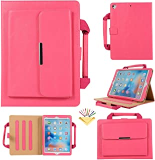 Uliking Handbag Case for Apple iPad Pro 12.9 2017/2015, Stand Folio Smart PU Leather Cover [Auto Wake/Sleep] with Document Pocket Hand Strap for Apple iPad Pro 12.9 Inch (1st Gen & 2nd Gen), Rose