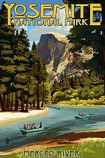 Yosemite National Park, California - Merced River Rafting (9x12 Art Print, Wall Decor Travel Poster)