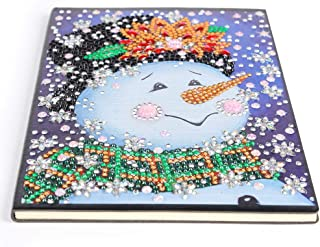 Notebook with Diamond Painting Cover Diary Book DIY Journal Book, DIY Christmas Snowman Special Shaped Diamond Painting 60 Pages A5 Notebook