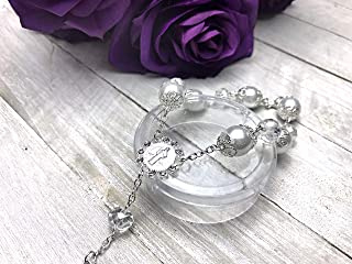 12 Pcs Rosary Bracelet with Cross Baptism Party Favors Wedding Favors, Quinceanera Favors (Pearl - Silver)