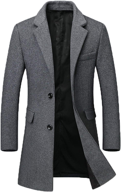 Tealun Winter Men Wool Blend Coats Men's Business Casual Solid Color Wool Coat Long Wool Blend Overcoat Male
