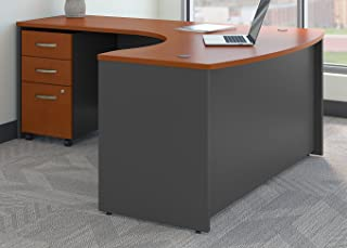 Bush Business Furniture Series C Left Handed L Shaped Desk with Mobile File Cabinet in Auburn Maple