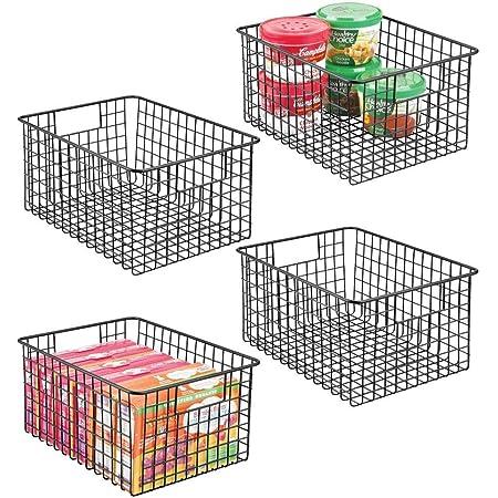 """SHIOK DECOR Steel Multipurpose Storage Organizer Bin Basket with Handles for Kitchen (4 Pack, 10"""" X 10"""" X 5.5"""" - Black)"""