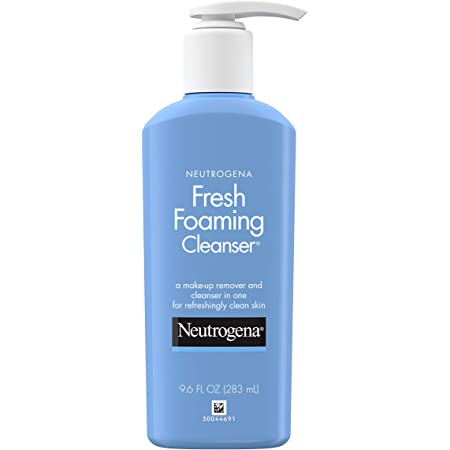 Neutrogena Foaming Facial Cleanser Makeup Remover with Glycerin Oil Soap AlcoholFree Daily Face Wash Removes Dirt Oil Waterproof, NonComedogenic, n.a, fresh, 9.6 Fl O