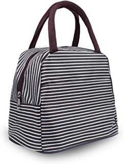 Multi-Functional Pratical Lunch Bag Little-Waterproof Tote Bag Lunch Organizer Lunch Holder Lunch Container (Black and White Stripes)