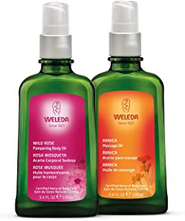 Weleda Beauty and Body Oil 2-Piece Set: Arnica Massage Oil and Wild Rose Body Oil, 3.4 Fl Oz (Pack of 2)