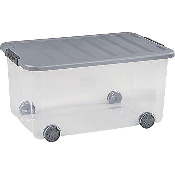 Caja multiusos Curver Scotti 50 l con ruedas en transparente/gris, plástico, 35 x 25 x 10 cm: Amazon.es: Hogar