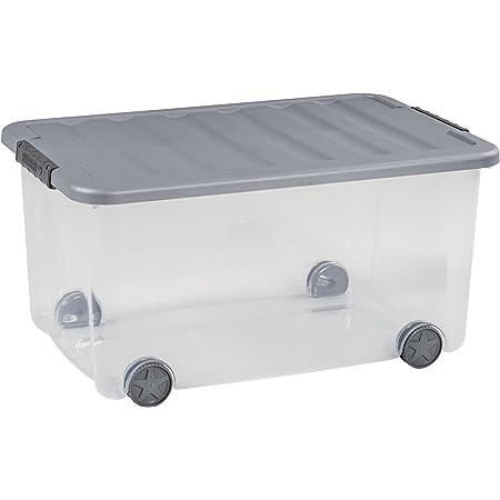 CURVER   Box à roulettes Scotti 50L, Transparent/Gris, 58,9 x 38,8 x 30 cm, Plastique