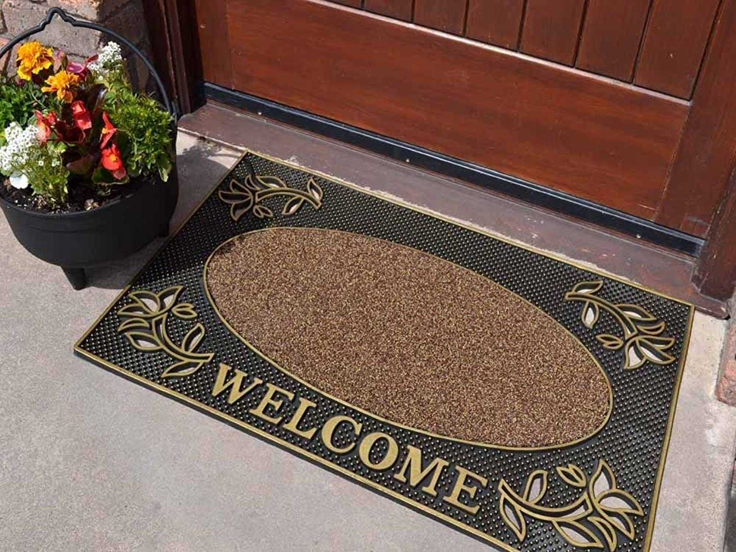 Heavy Duty gold Welcome Rubber Indoor Outdoor Door Mat Size 45cm x 75cm by SuperRugStore