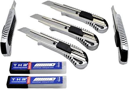 5 Stück Alu Profi Cuttermesser THR Druckguss Teppichmesser 18mm Abbrechklinge Mehrzweck Messer  20 Klingen