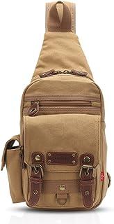 FANDARE Rucksack Sling Bag Umhängetasche Messenger Tasche Schultertasche Reisen Daypack Klein Crossbady Bag Segeltuch Khaki