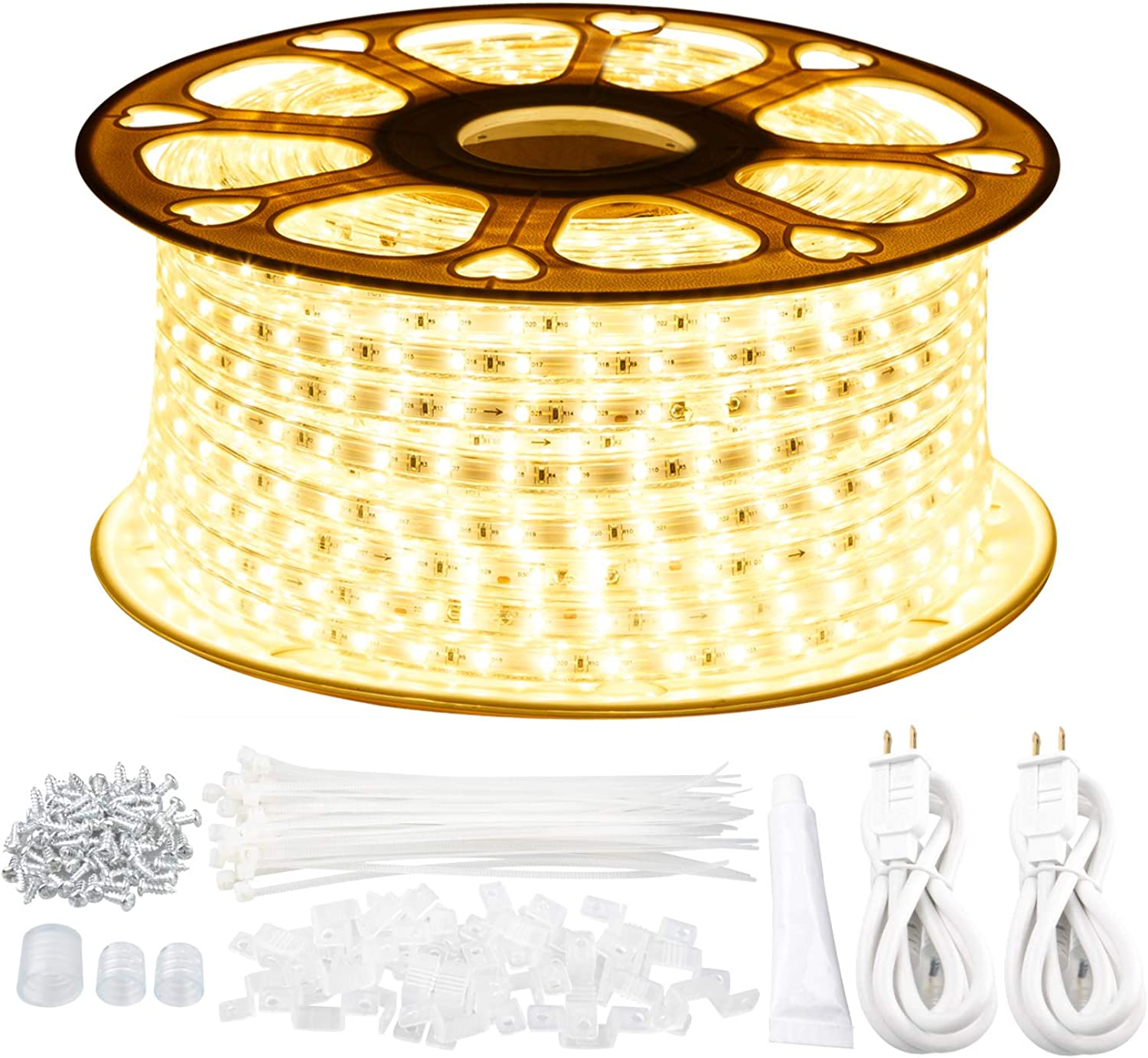 GuoTonG 131.2ft 40m LED Strip Rope Lights,Waterproof, 3000K Warm White,110V 2 Wire, Flexible, 2400 Units SMD 2835 LEDs,Indoor Outdoor Use, Ideal for Backyards, Decorative Lighting