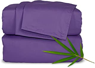 """Pure Bamboo Sheets - Full Size Bed Sheets 4-pc Set - 100% Organic Bamboo - Incredibly Soft - Fits Up to 16"""" Mattress - 1 Fitted Sheet, 1 Flat Sheet, 2 Pillowcases (Full, Purple)"""