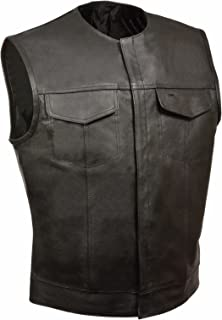 MEN'S SONS OF ANARCHY NO COLLAR LEATHER VEST WITH 2 GUN 2 CHEST POCKETS SINGLE BACK PANEL