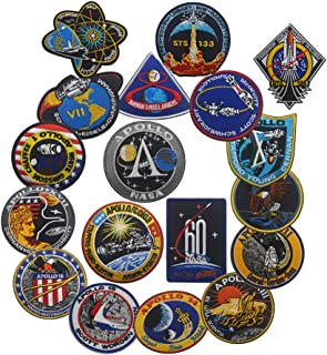 18 PCS NASA Apollo Mission Patch Set 1,7,8,9,10,11,12,13,14,15,16,17,133,134,135 Space Patches 60th Annivers Embroidered C...