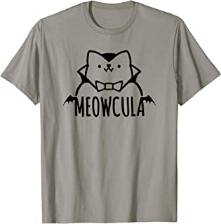 Meowcula Funny Cat Vampire Dracula Halloween Tshirt Shirt T-Shirt