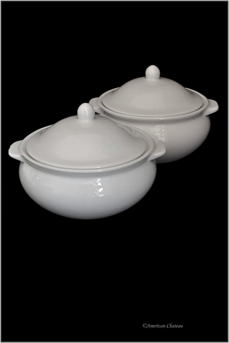 Set 2 Traditional White Porcelain French Onion Soup Bowls Crocks with Handles & Lid