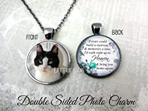 Personalized Custom Photo Double Sided Necklace or Key Chain - If Tears could build a stairway Poem - Pet Memorial Charm - Loss of Loved One - Wedding Bouquet In Memory Pendant