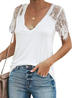 Womens Elegant Pullover T Shirt Blouse Ladies Casual Mesh Lace Tops Basic 6-18
