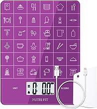 Báscula de cocina digital multifuncional recargable para alimentos,con raspador de comida de NUTRI FIT, Alta precisión,portátil y función de tara,Báscula de cocción y horneado de 11 lb/5 kg(Violeta)