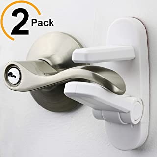 Improved Childproof Door Lever Lock 2-Pack Prevents Toddlers From Opening Doors. Easy One Hand Operation for Adults. Durable ABS with 3M Adhesive Backing. Simple Install, No Tools Needed (White, 2)