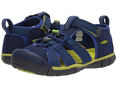 Keen Kids Seacamp II CNX (Little Kid/Big Kid) (Blue Depths/Chartreuse) Boys Shoes