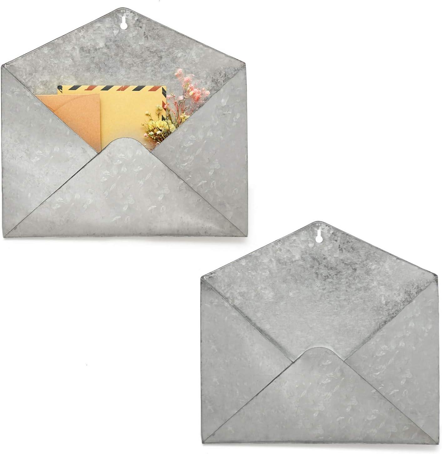 YoleShy Max 44% OFF Galvanized Mail Organizer Limited price Wall Set of Holder Mount