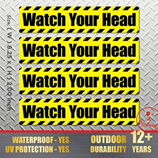 (Pack of 4 pcs) Watch Your Head - Waterproof Stickers Outdoor Indoor Polyester Decal Vinyl Label Stair Door Entry Safety Adhesive Sign