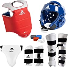 ADIDAS COMPLETE TAEKWONDO SPARRING GEAR SET WITH SHIN INSTEP - BLUE - adult-small