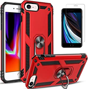 STARSHOP Compatible For- iPod Touch 7th Generation Case, iPod Touch 6/5 Case, With [Tempered Glass Protector Included] Military Grade Shockproof Cover With Rotating Ring Holder Kickstand- Red