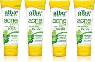 Alba Botanica ACNEdote Face & Body Scrub, 8 Ounces Tube (Pack of 4)