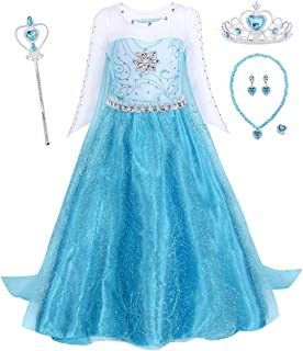WonderBabe Girls Party Cosplay Girl Clothing Birthday Princess Dress Kids Blue Costume With Accessory Set 1-12 Years