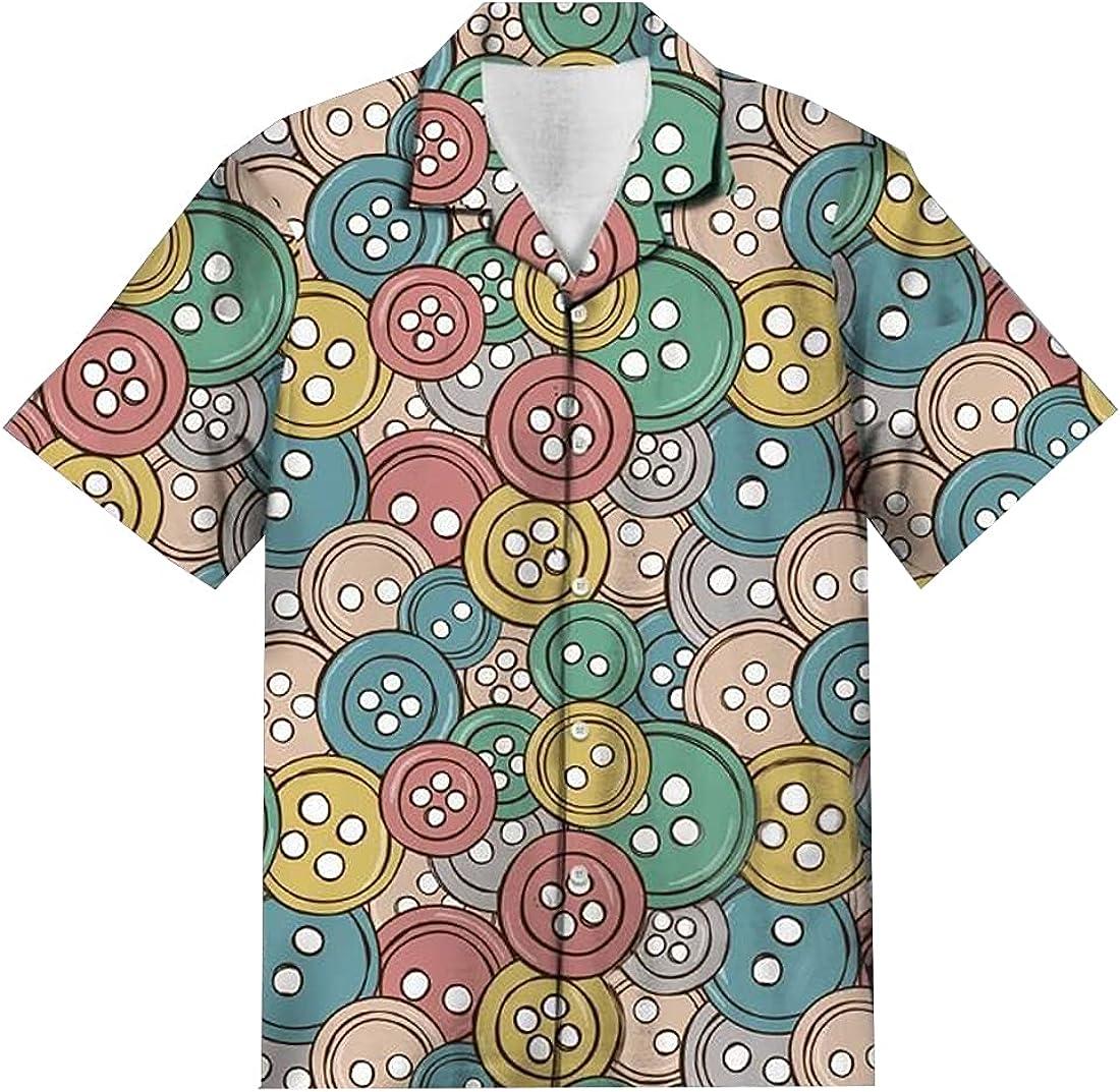 American Job Hawaiian Shirts for Men - America Button Down Mens Hawaiian Shirts Short Sleeve Series 109