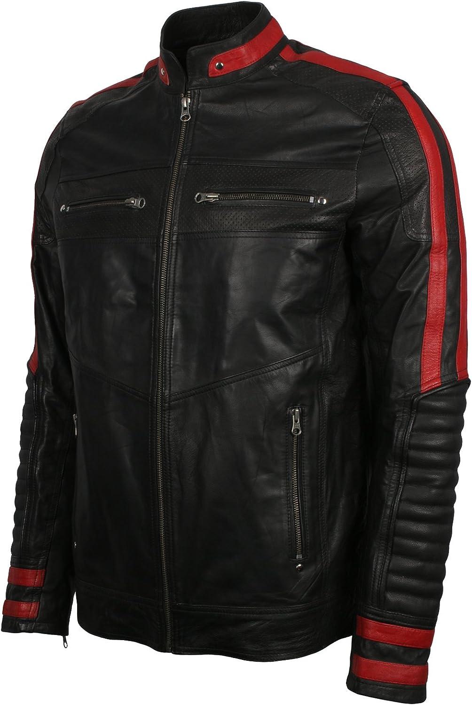 Men's Leather Jacket Black & Red Slim Fit Biker Vintage Motorcycle Cafe Racer